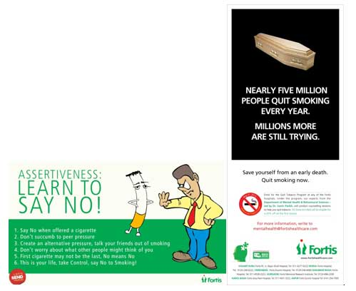 """Learn To Say NO""Campaign on World No Tobacco Day  - Fortis Healthcare"